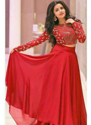Red Gorgette Embroidered Crop Top Lehenga Choli