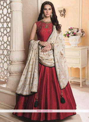 Red Hand Work Kumkum Silk Designer Gown Collection