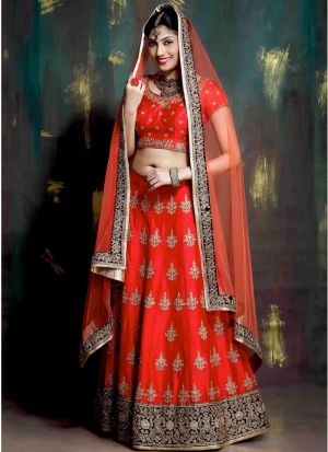 Red Heavy Embroidery Designer Partywear Lehenga Choli