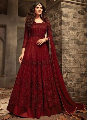 Red Heavy Net Designer Floor Length Anarkali Suit