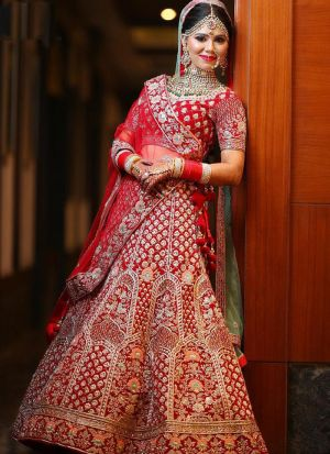 Red Khadi Silk Bridal Lehenga Choli For Wedding
