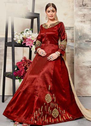 Red Malbari Silk Designer Salwar Suit Eid Special Muslim Dresses