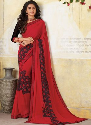 Red Marriage Wear Georgette Saree With Blouse
