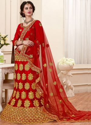 Red Net Party Wear Lehenga Choli