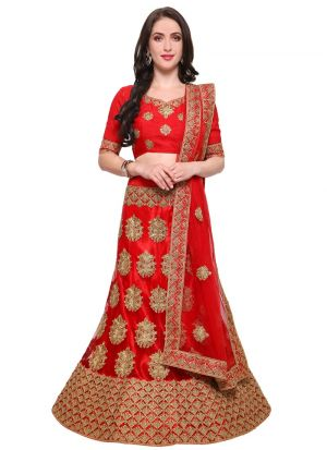 Red Net Traditional Lehenga Choli