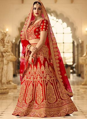 Red Phantom Silk Indian Latest Bridal Lehenga Design With Mono Net Dupatta