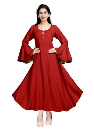 Red Pure Heavy Rayon Women Latest Wear Kurti Collection