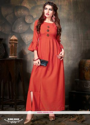 Red Rayon Plain Designer Ladies Kurti