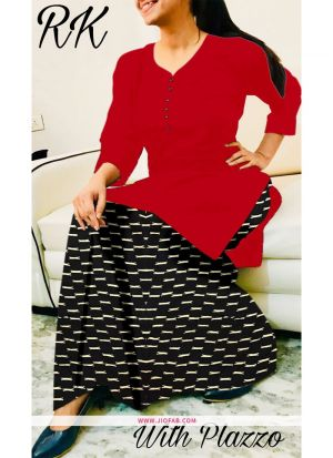 Red Rayon Plain Designer Stitched Kurti With Palazzo