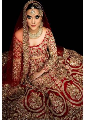 Red Satin Silk Designer Bridal Lehenga Choli