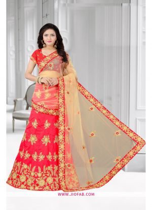 Red Semi Stitched Designer Anarkali Lehenga