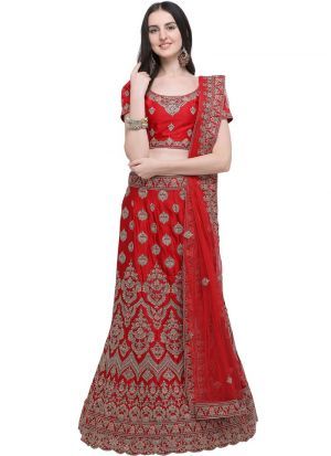 Red Silk Traditional Lehenga Choli