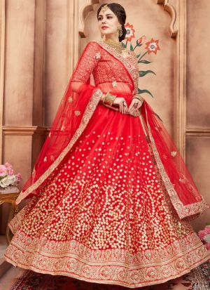 Red Soft Net Florals Vol 2 Designer Lehenga Choli