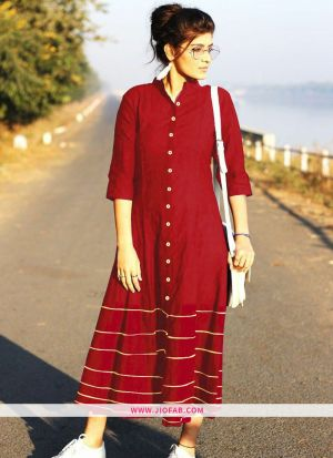 Red Summer Highway Slub Cotton Heavy Quality Kurti