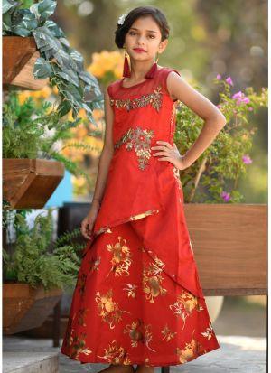 Red Tafetta Silk Kids Wear Gown