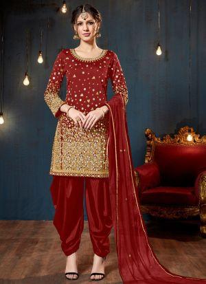 Red Taffeta Silk Designer Salwar Suit Eid Special Muslim Dresses
