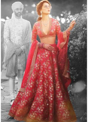 Red Thai Silk Designer Lehenga Choli For Sangeet Ceremony