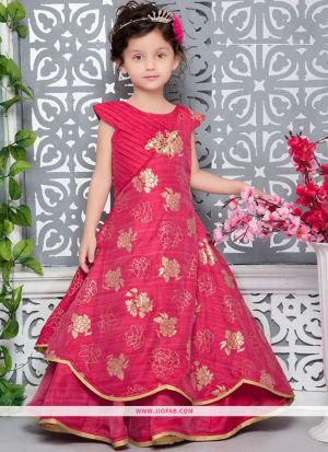 Red Thai Silk Indian Ethnic Wear Gown For Kids Girl