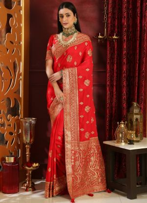 Red Traditional Silk Saree With Embroidered
