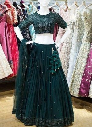 Refershing Bottle Green Moti Work Party Wear Lehenga Choli