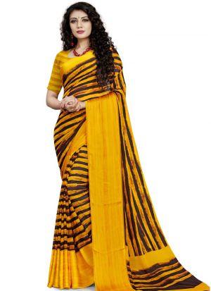 Refreshing Look Mustard Digital Printed Saree