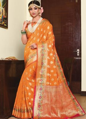 Refreshing Look Orange Thread Work Saree