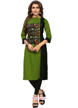 Regular Ladies Official Green And Black Rayon Printed Kurti