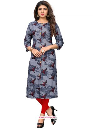Regular Ladies Official Multi Color Rayon Multi Work Kurti