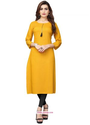 Regular Ladies Official Yellow Rayon Plain Kurti
