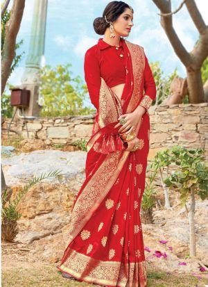 Rose Red South Indian Pure Silk Designer Saree