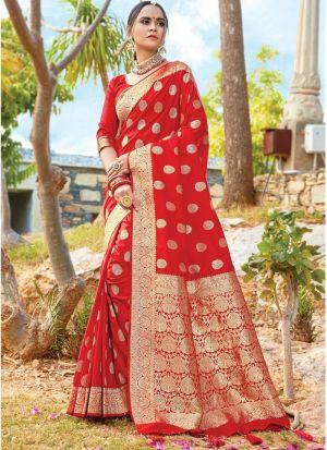 Rose Red South Indian Wedding Pure Silk Saree