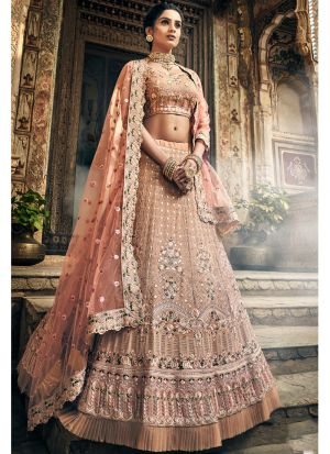Rose Taupe Georgette Lehenga Choli For Women