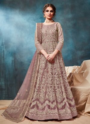 Rosy Brown Net Traditional Anarkali Style Suit