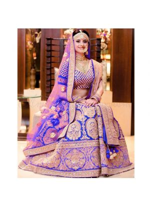 Royal Blue Banglori Silk Indian Wedding Lehenga Choli With Mono Net Dupatta