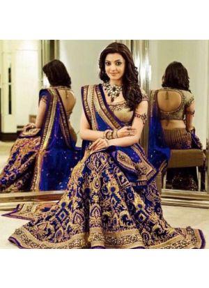 Royal Blue Designer Wedding Wear Banglori Silk Lehenga Collection