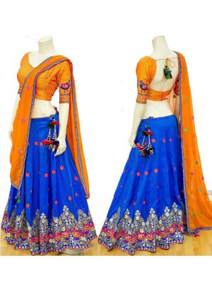 Royal Blue Heavy Embroidery Banarasi Silk Fabric Traditional Designer Lehenga With Nazmin Dupatta