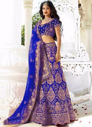 Royal Blue Phantom Silk Wedding Bridal Lehenga Choli With Mono Net Dupatta