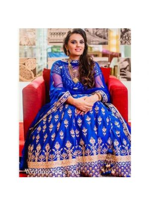 Royal Blue Phantom Silk Wedding Wear Indian Designer Bridal Lehenga Collection