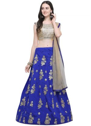 Royal Bue Designer Wedding Lehenga Choli With Taffeta Silk Fabric