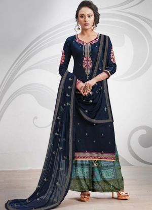 Ruby Silk Cotton Dark Navy Designer Palazzo Salwar Suit