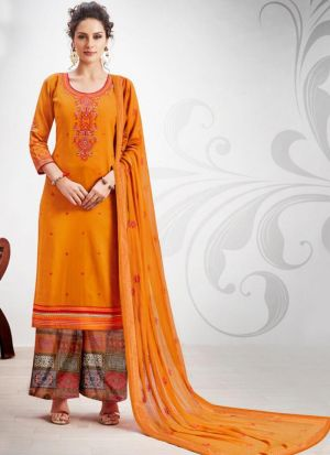 Ruby Silk Cotton Yellow Designer Palazzo Salwar Suit
