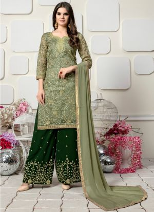 Sage Color Organza Designer Palazzo Style Salwar Suit With Heavy Work