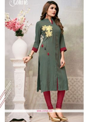 Sage Color Rayon Plain Heavy Designer kurti