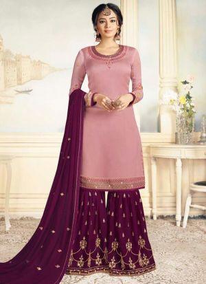 Salmon Pink Satin Georgette Eid Collection Salwar Suit