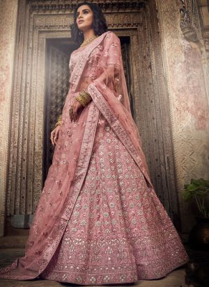 Salmon Pink Satin Indian Designer Lehenga Choli