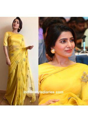 Samantha Akkineni Bollywood Yellow Organza Silk Fancy Thread Work Saree