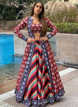 Sara Ali Khan Fame Multi Color Digital Printed Lehenga Choli