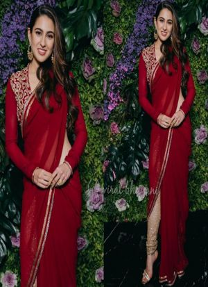 Sara Ali Khan Maroon Georgette Saree With Fancy Thread Work
