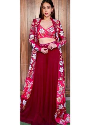 Sara Ali Khan Maroon Gorgette Digital Printed Lehenga Choli With Crepe Silk Koti