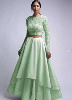 Satin Sea Green Elegant Reception Wear Lehenga Choli